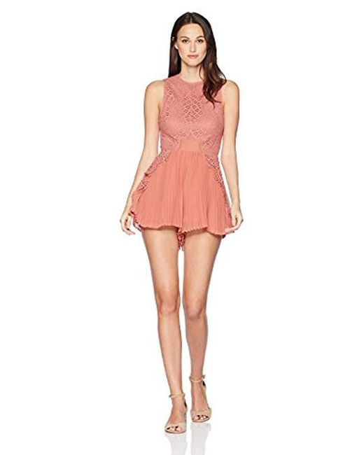 Keepsake Multicolor Be The One Lace Top With Pleated Shorts Sheer Romper