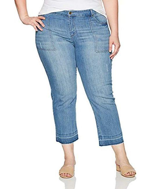 Jones New York Blue Plus Size Hem Cropped Bell Leg W/patch Pocket
