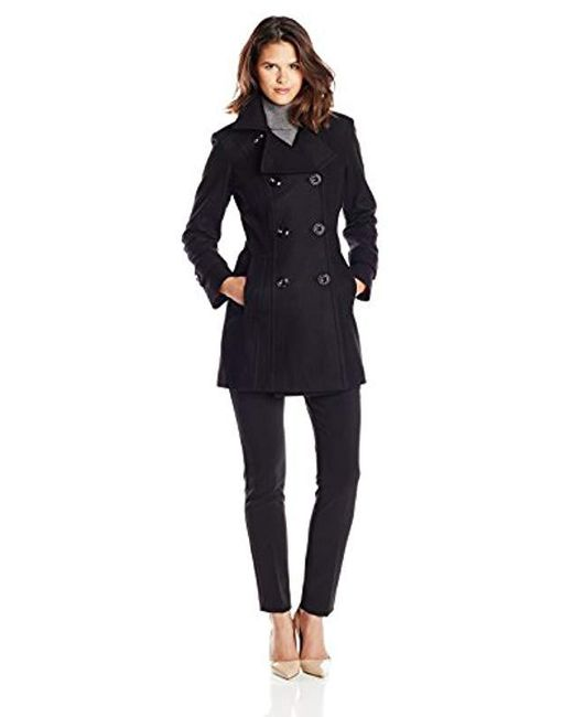 Anne Klein - Black Classic Double-breasted Coat - Lyst