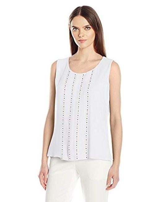 Calvin Klein - White Sleeveless Top With Stud Detail - Lyst