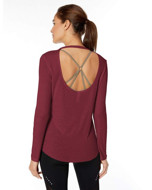Core 10 Red Ultra-lightweight Semi-sheer Ribbed Knit Yoga Open Back Long