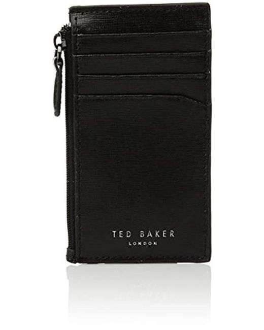 Ted Baker - Black Corner Detail Zip Card Holder for Men - Lyst