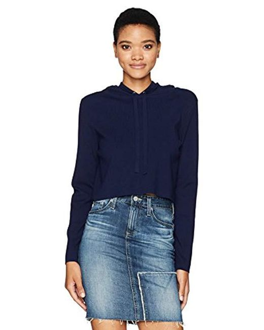 MILLY - Blue Cropped Hoodie - Lyst