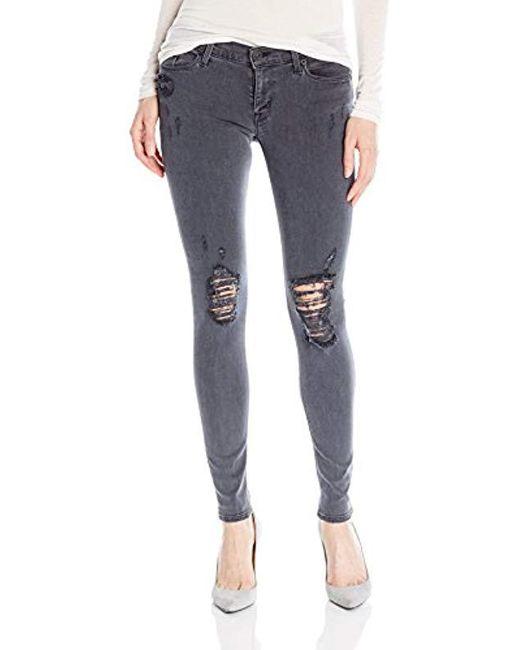 Hudson - Blue Krista Ankle Super Skinny Distressed 5 Pocket Jeans - Lyst