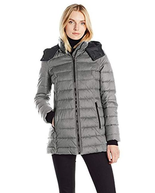 Nautica - Gray Hooded Puffer In Faux Wool Fabric - Lyst