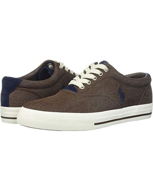 Polo Ralph Lauren - Brown Vaughn-colored Denim Sneaker for Men - Lyst