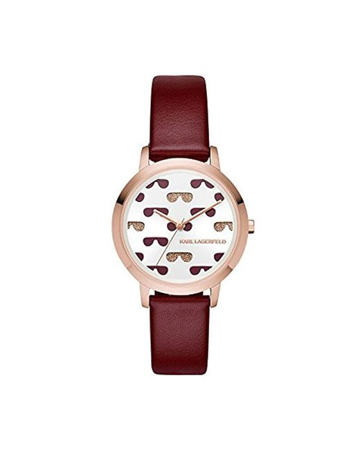 Karl Lagerfeld - Camille Quartz Stainless Steel And Leather Watch, Color: Rose Gold-tone, Red (model: Kl2230) - Lyst