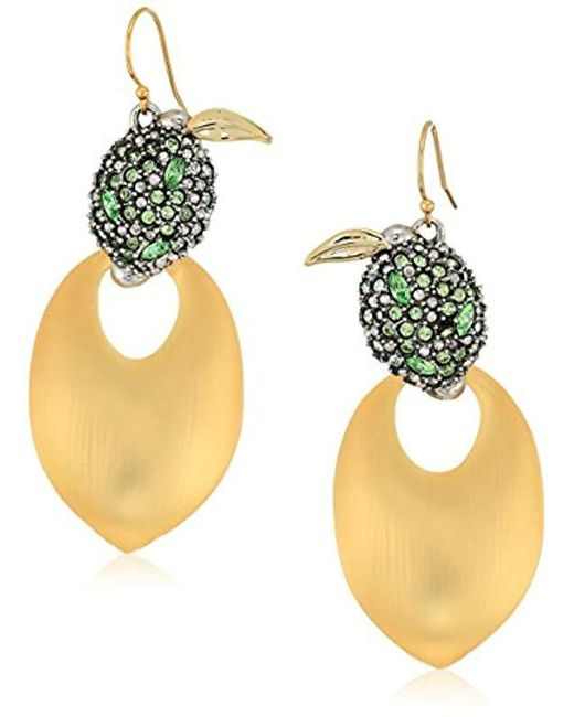 Alexis Bittar - Metallic Crystal Encrusted Lime And Lucite Earwire Drop Earrings - Lyst