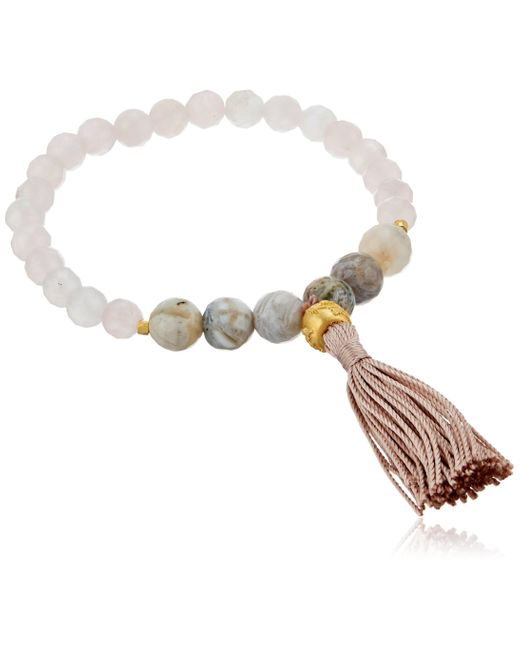 Satya Jewelry Pink Rose Quartz & Agate Gold Plated Cherry Blossom Mala Tassel Stretch Bracelet