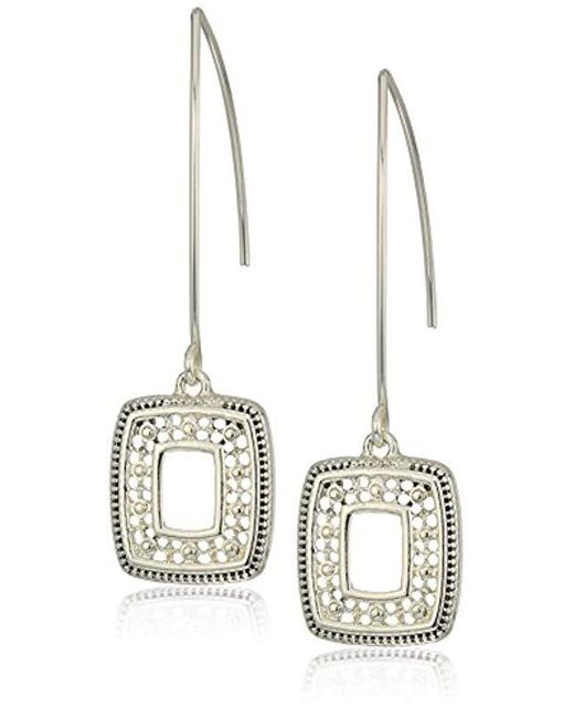 Napier - Metallic Silver With Antique Threader Drop Earrings - Lyst