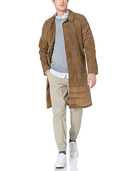 Billy Reid Natural Water Resistant Waxed Trench With Interior Stripe Detail for men