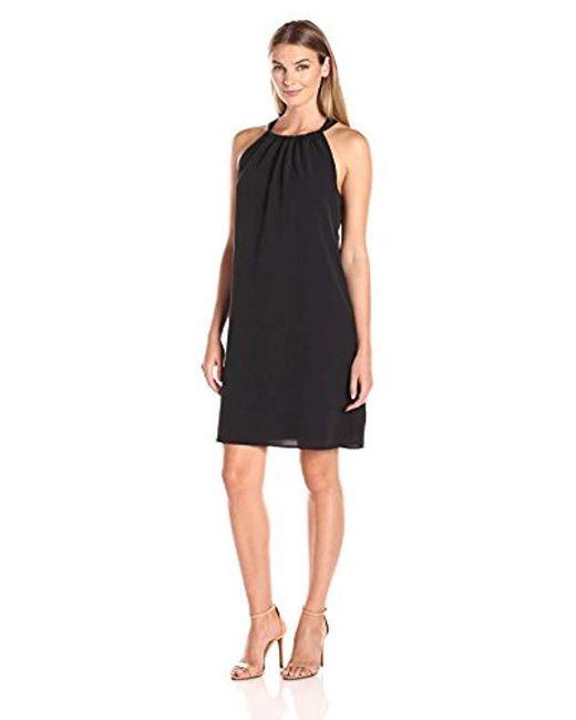 Lark & Ro - Black Sleeveless Tie Neck Shift Dress - Lyst