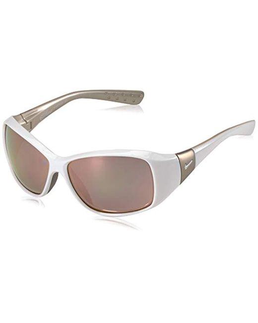 Nike Minx Rectangular Sunglasses, White, 59 Mm
