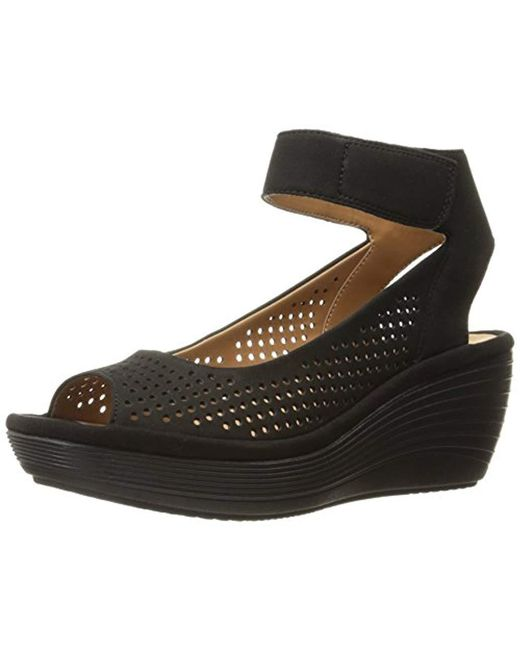 Clarks Black Reedly Salene Wedge Sandal