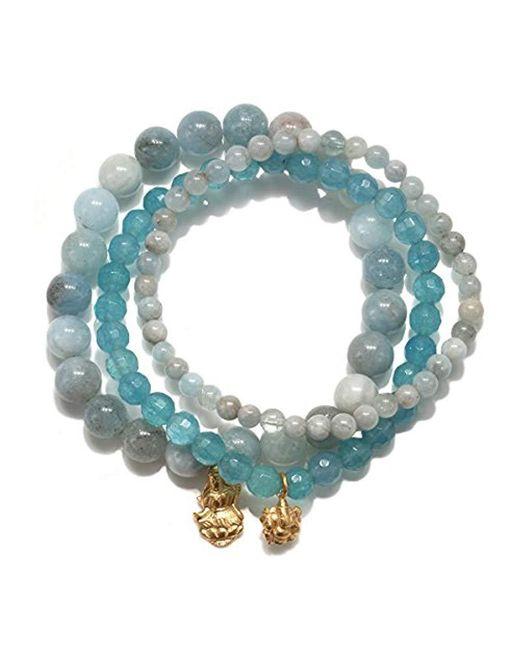 Satya Jewelry - S Aquamarine Gold Ganesha Lakshmi Stretch Bracelet Set, Blue, One Size - Lyst