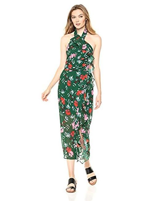 5830ee826d1c C meo Collective - Green Elude Ruffle Detail Halter Midi Dress With Slit -  Lyst ...
