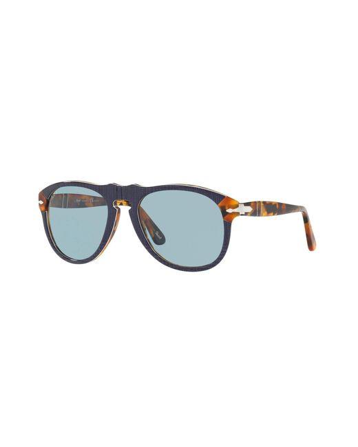 Persol Blue Po0649 Pilot Sunglasses
