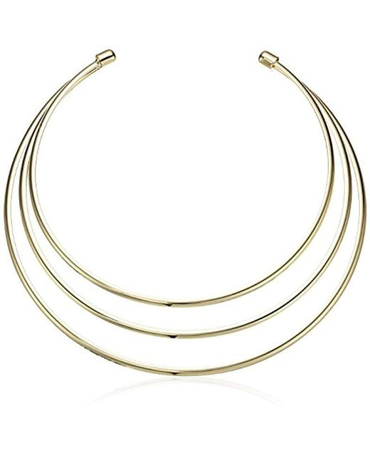Guess - Metallic Ig Metal Choker Necklace, Gold - Lyst