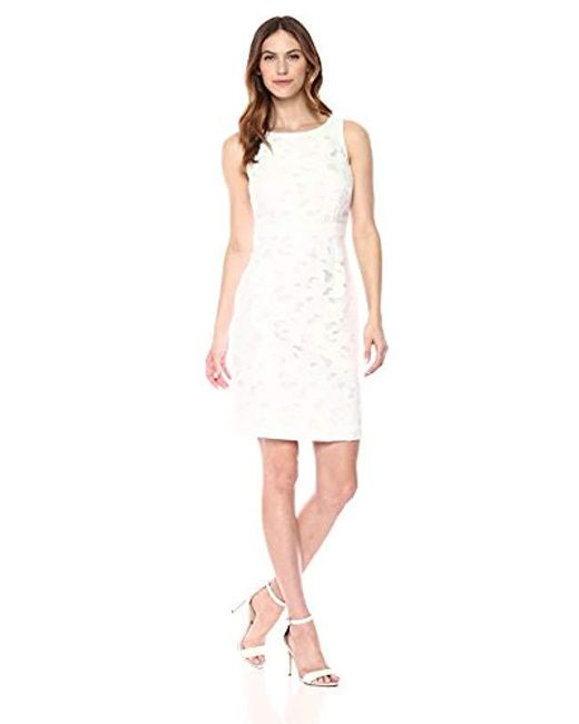 Kasper White Floral Burn Out Dress
