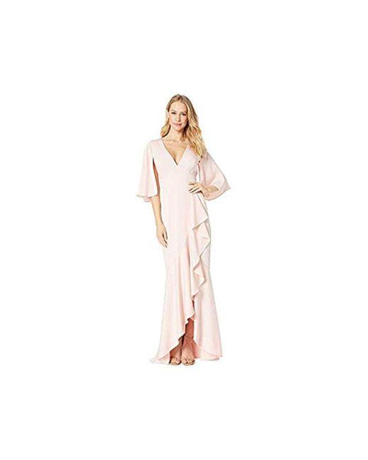 BCBGMAXAZRIA Pink Satin Asymmetric Ruffle Gown