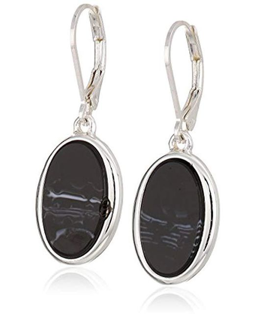 Nine West Multicolor Silver Tone And Jet Drop Earrings