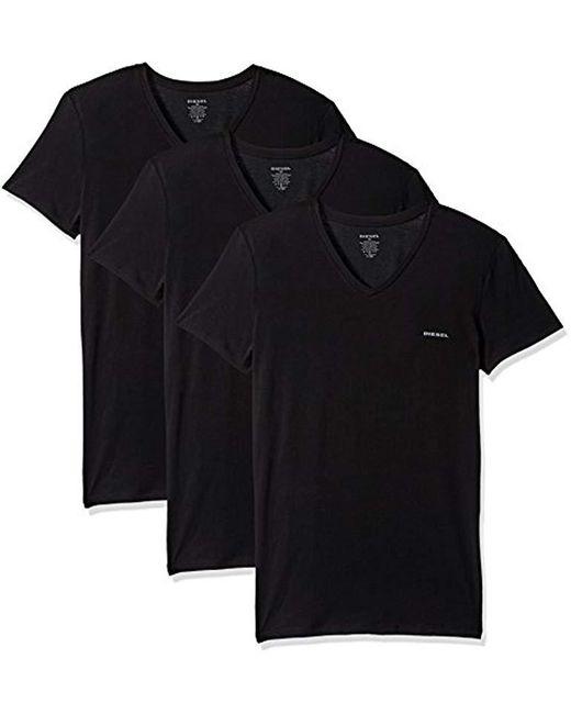 DIESEL - Umtee Jake Vneck 3pack Men's T Shirt In Black for Men - Lyst