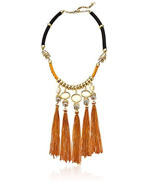 Lucky Brand - Metallic S Silk Cord Statement Necklace - Lyst