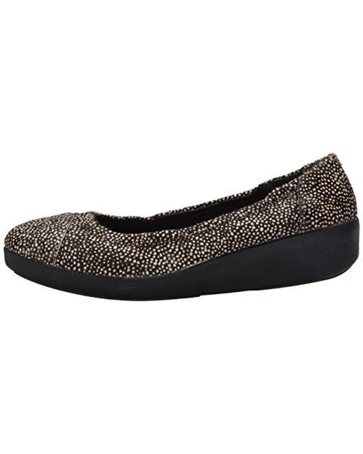Fitflop Leather F pop Ballerina Ballet Flats in Black Lyst