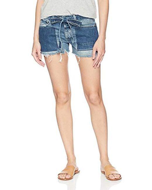 Lucky Brand Blue Low Rise Boyfriend Short Jean With Tie In Sidney