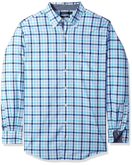Nautica Mens Long Sleeve Classic Fit Plaid Button Down Shirt
