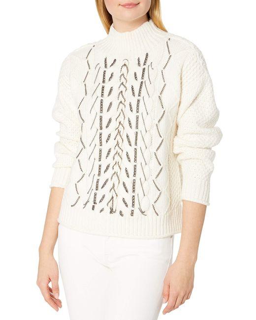 Vince Camuto White Chain Trim Cable Stitch Mock Neck Sweater
