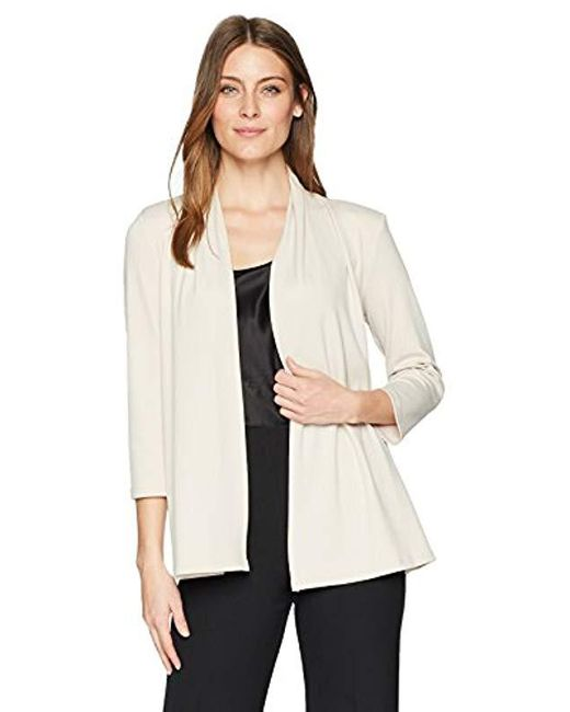 Kasper Natural Ribbed Knit 3/4 Sleeve Cardigan With Back Waist Detail
