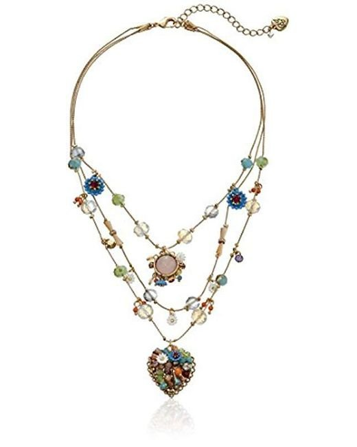 """Betsey Johnson Multicolor """"weave And Sew Woven Mixed Multi-colored Bead Flower Heart Illusion Necklace"""