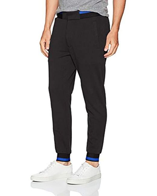 Armani Jeans - Black Plus Size Cotton Fleece Jogger With Contrast Stripe Detail for Men - Lyst