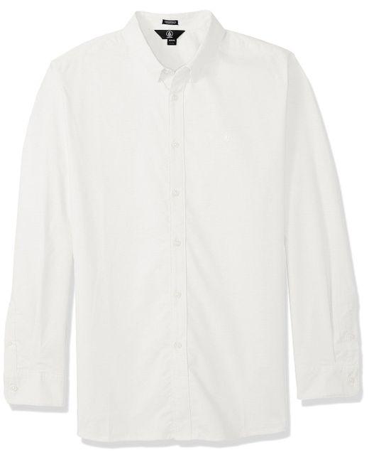 Volcom White Oxford Stretch Long Sleeve Shirt - Black - L for men