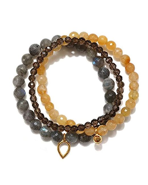 Satya Jewelry - Metallic Labradorite, Yellow Jade, Smokey Quartz, Citrine Gold Plate Lotus Petal Stretch Bracelet - Lyst