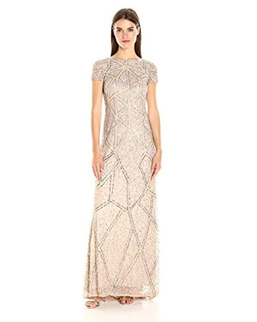Adrianna Papell Metallic Short Sleeve Fully Beaded Gown