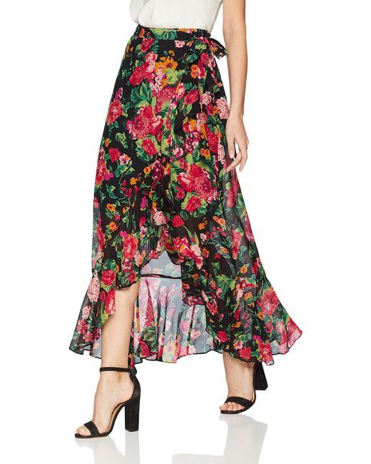 BCBGMAXAZRIA Black Floral Asymmetrical Wrap Skirt