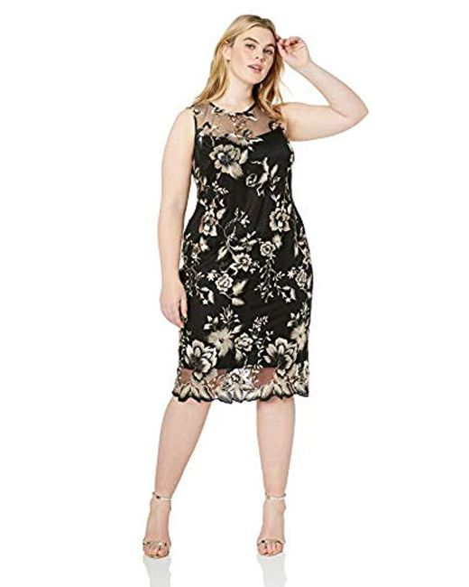 Calvin Klein Black Plus Size Lace Sheath With Illusion Neckline Dress