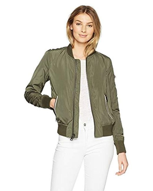 Levi's - Green Poly Bomber Jacket With Contrast Zipper Pockets - Lyst