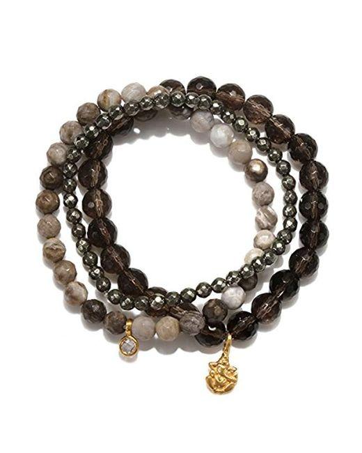 Satya Jewelry - Brown Smokey Quartz, Agate, Pyrite Gold Plate Ganesha Stretch Bracelet - Lyst