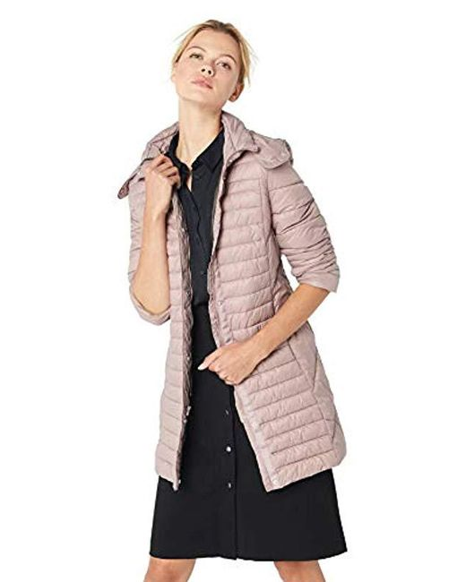Kenneth Cole - Pink Thigh Length Zip Puffer Jacket With Hood - Lyst