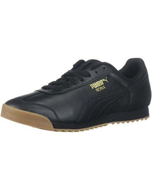 PUMA - Black Roma Classic Gum ( White  Team Gold) Men s Shoes for Men ... 3c379fbe7