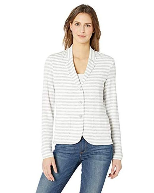 Majestic Filatures White French Terry Stripe L/s 3 Button Blazer W/front Pockets