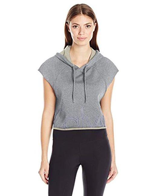 Calvin Klein - Gray Performance Outline Cut Off Logo Crop Pullover Hoodie - Lyst