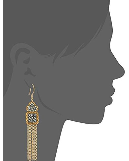 Miguel Ases - Blue Floral Framed Square Multi-dangle Pyrite Drop Earrings - Lyst