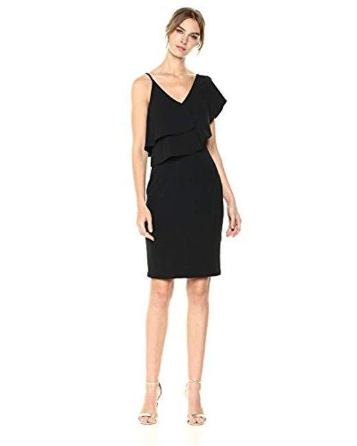 Bebe Black Solid Crepe Midi Dress With Asymmetrical Ruffle Top