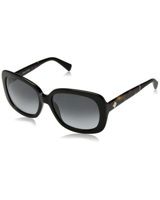 Cole Haan Black Ch7003 Plastic Rectangular Sunglasses