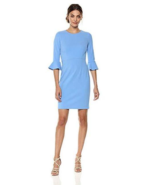 Donna Morgan - Blue Kendall 3/4 Elbow Bell Sleeve Sheath Dress - Lyst