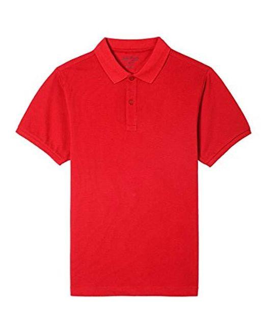 Nautica Red Young Uniform Short Sleeve Stretch Pique Polo for men